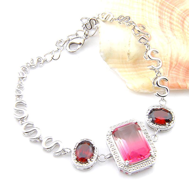 Luckyshine donne per i braccialetti dei braccialetti 3: Big Stone spedizioni rosso granato Bi colore tormalina donne braccialetti d'argento dei braccialetti gratuiti