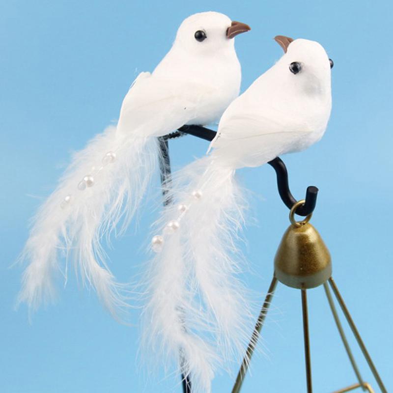 Ornamento de la boda 12PCS falso palomas blancas de espuma artificial pluma Inicio Craft decoración de la tabla del pájaro del juguete decoración de la boda