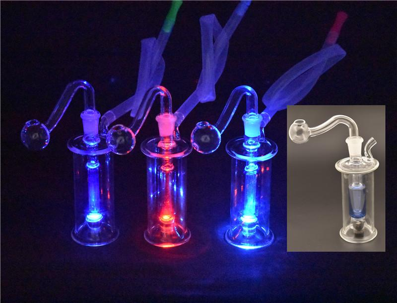 LED Dab Rig Glass Bong Portable smoking Water Pipe Inline Perc Smoking Hookah Pipes with 10mm glass oil burner pipe and hose