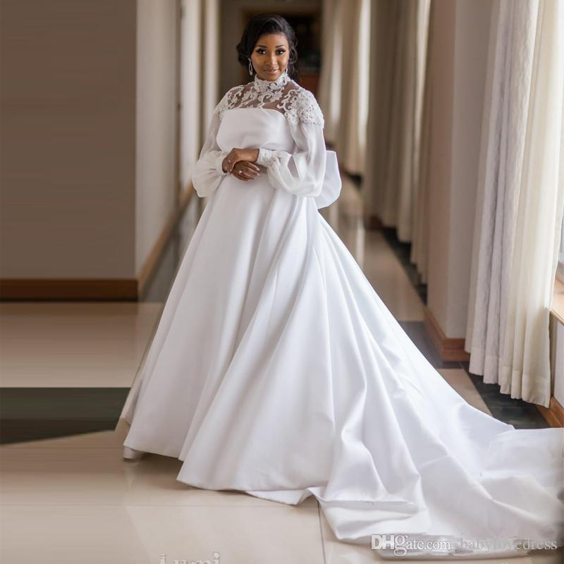 Graceful Plus Size Satin A-Line Wedding Dresses High Collar Flare Sleeve Big Bow Tie Africa Wedding Gown Beaded Princess Bridal Dress