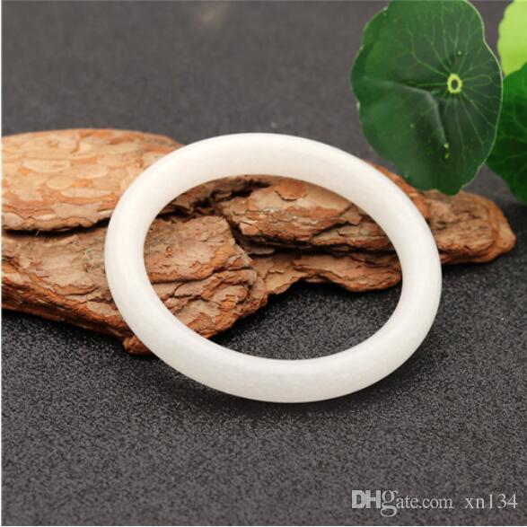 Bracelet en jade chinois blanc naturel avec bijoux Accessoires de mode Femme Amulette porte-bonheur 54-64mm