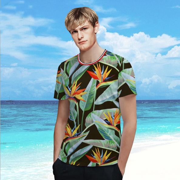 Summer creative Tropical plants print t shirt printed Tshirt high quality short sleeve mens breathable loose Tshirt
