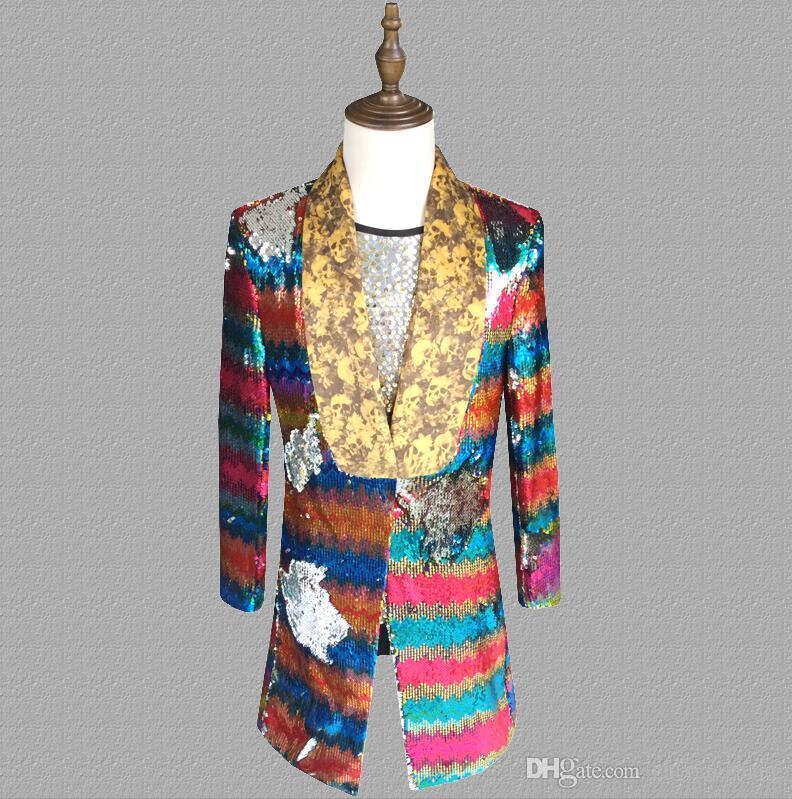 Colorful flip sequins blazer men long suits designs jacket mens stage singers clothes dance star style dress punk rock masculino 4568