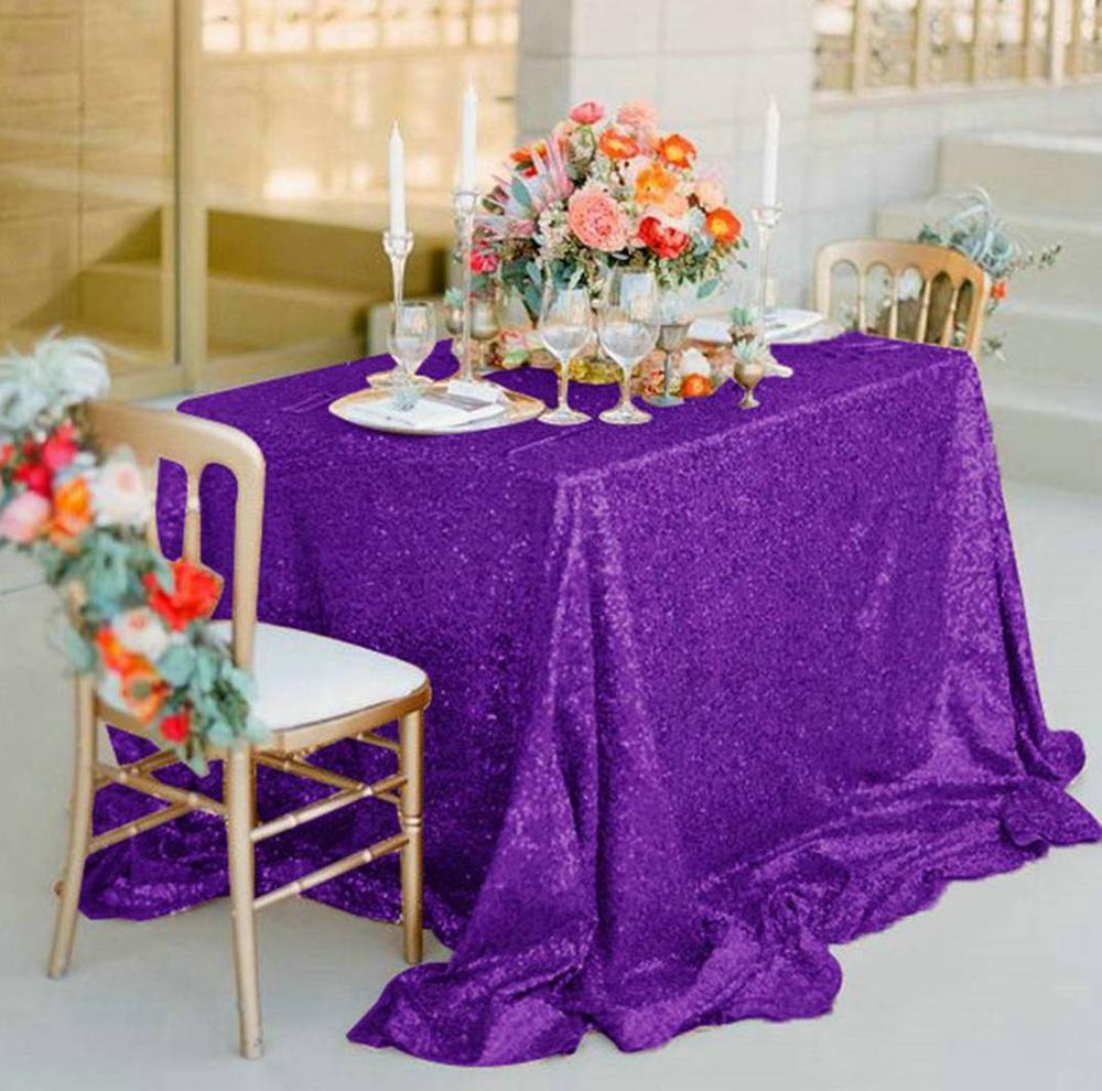 Mermaid Sequin Tablecloth 50x72-Inch Purple Rectangle Sequin Tablecloths for Party Table Cover Home Decor-M0927