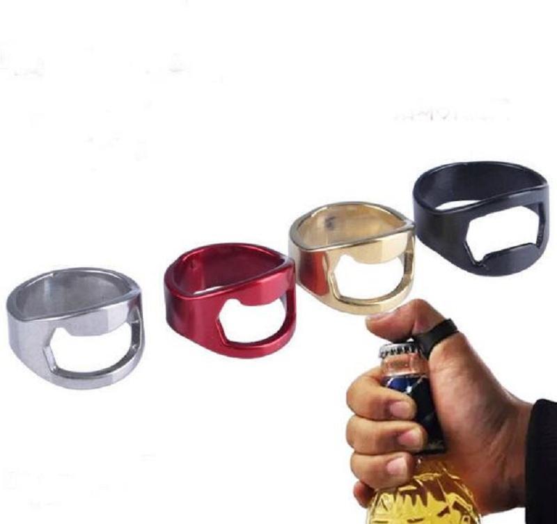 22mm Mini abrebotellas dedo del acero inoxidable del anillo de botella del anillo en forma de casquillo de la cerveza de apertura removedor Gadgets de cocina La Barra de Herramientas