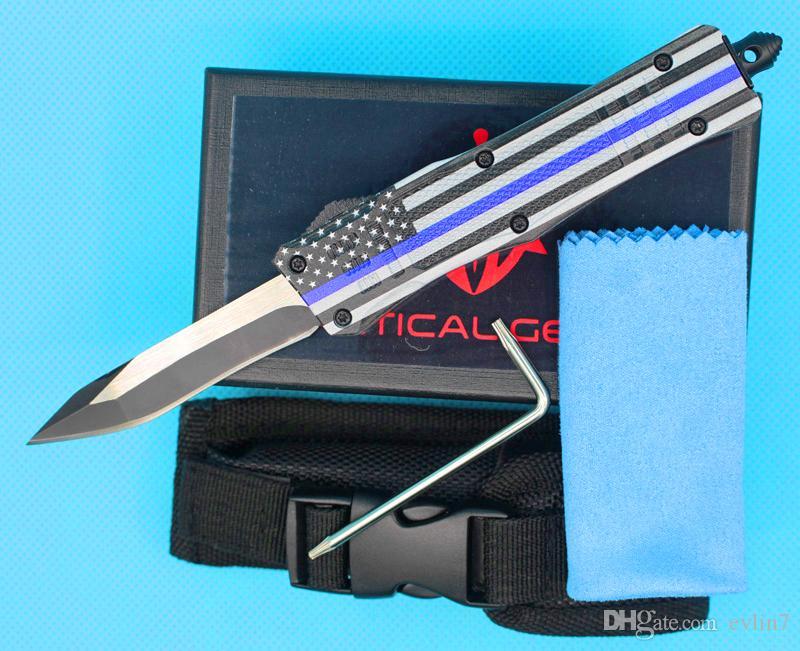 24pcs / lotto DHL veloce Bandiera blu di trasporto 7 pollici Piccolo 616 Mini Auto Tactical Knife Edge Snake 440C singola lama di EDC coltelli da tasca