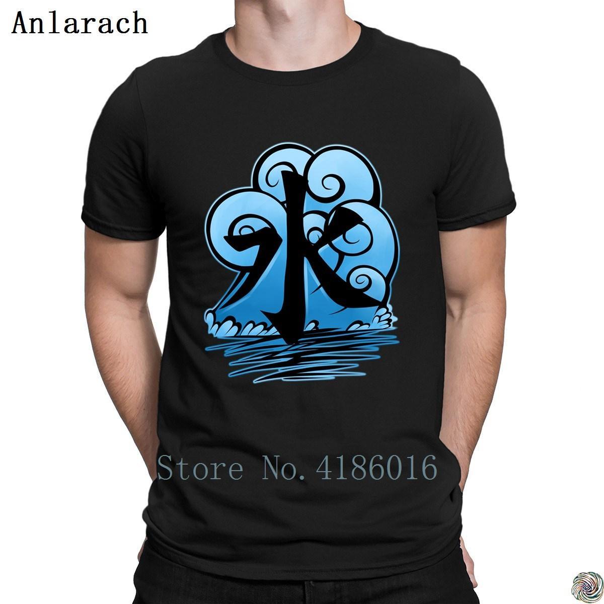 Tribu del agua del símbolo camisetas cómico de calidad superior interesantes cartas camiseta 100% algodón de los hombres básica personalizada Sólido