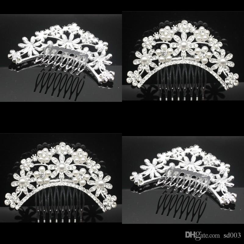 Bräute Headwear Hochzeitszusätze Braut-Kronen-Haar-Kamm-Frauen-Rhinestone Updo-Blume, die Kämme zwischenlegt Heißer Verkauf 5 5hp L1