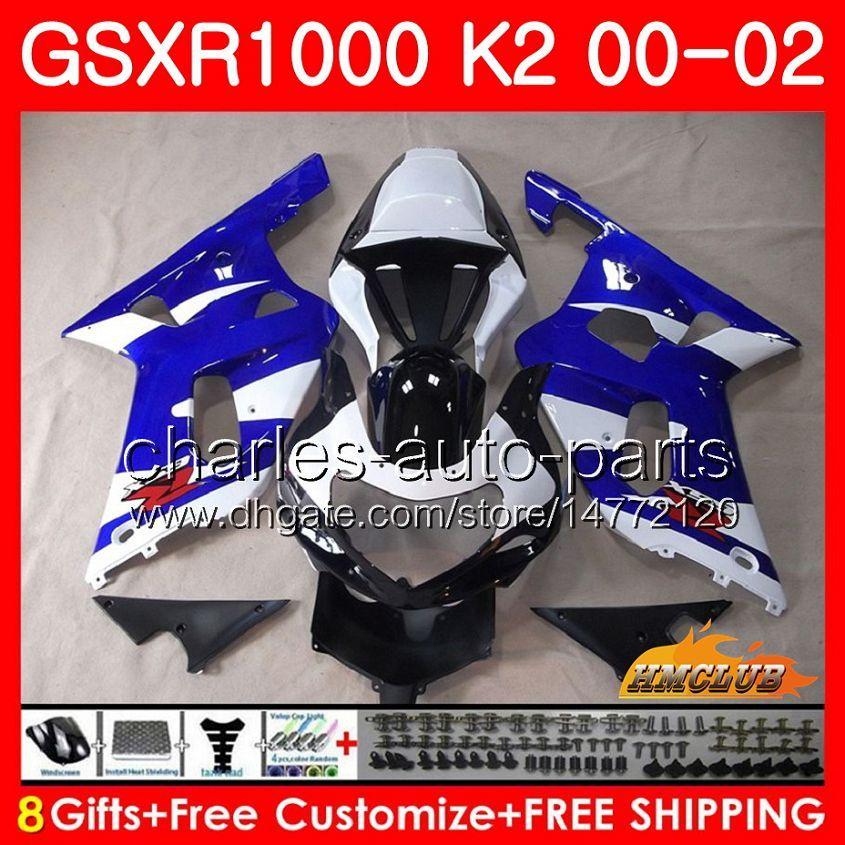Corpo per SUZUKI GSXR 1000 GSX-R1000 GSXR1000 00 01 02 Telaio 14HC.0 GSX R1000 K2 00 02 GSXR-1000 2000 2000 2001 Kit carenatura 2001 Blu di fabbrica