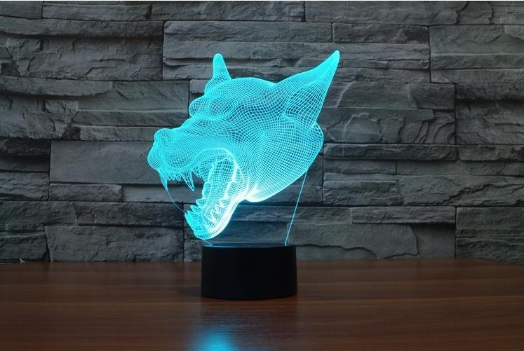 7 color Creative wolf LED Night light living room energy-saving lamps 3D stereo colorful gradient illusion table lamp