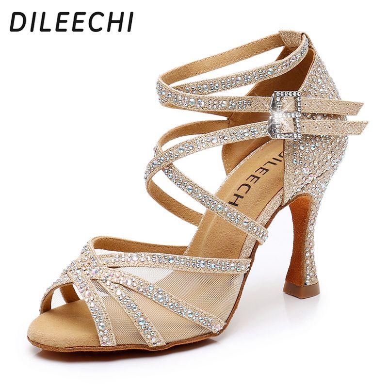 DILEECHI latino sapatos de dança do brilho do ouro strass com femininas líquidas sapatos de salão de dança Salsa salto macio de alta