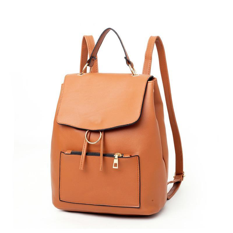 Female Backpack Casual PU Leather Backpack Women High Quality Bag Durable Female Texture Daily Bag Drawstring Yellow