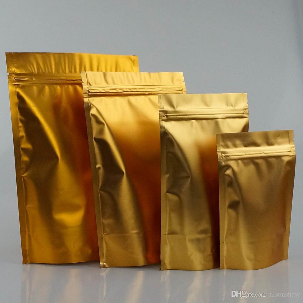 100pcs/lot, 12*20cm Standing matte golden aluminium foil ziplock bag-resealable mylar plating oatmeal/potato chip pouch, candy bags