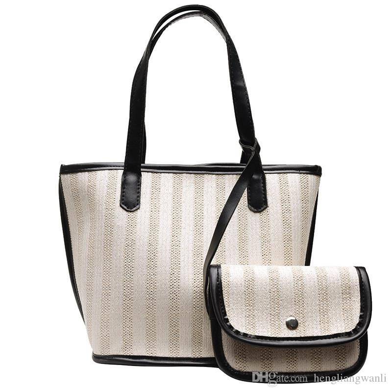 New fashion women's bags 2019 summer new wave woven portable Korean version of the bucket bag shoulder Messenger bag