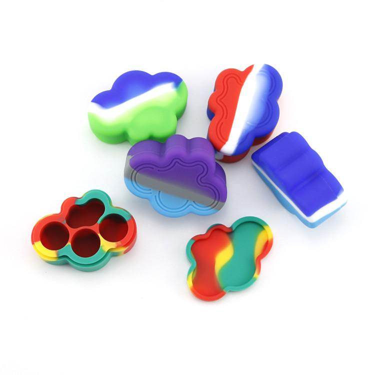 Cloud Shape Silicone Container Food Grade Rubber 22ML Non-stick Jars Dabber Tool Rubber Storage Box Oil Holder Wax Container Vaporizer DHL