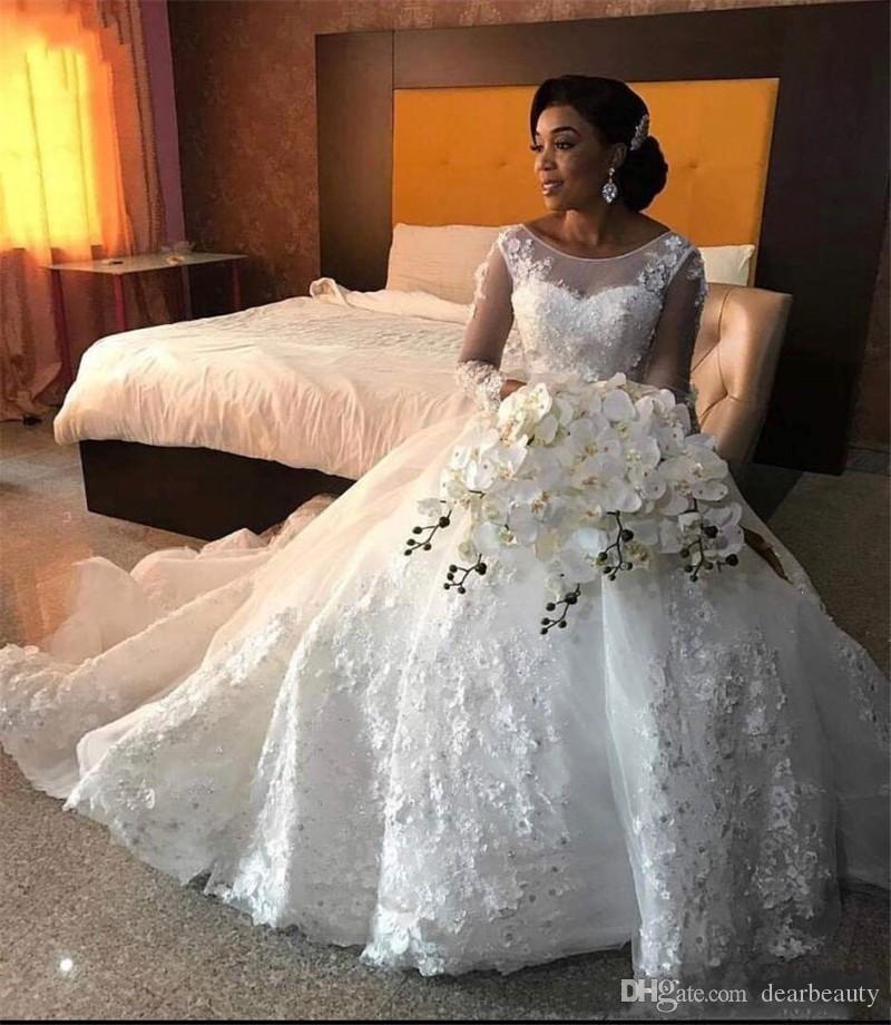 Maniche lunghe palla abito da sposa Vestido Appliques floreali sposa Gown Corte dei treni Robe de mariée 2019