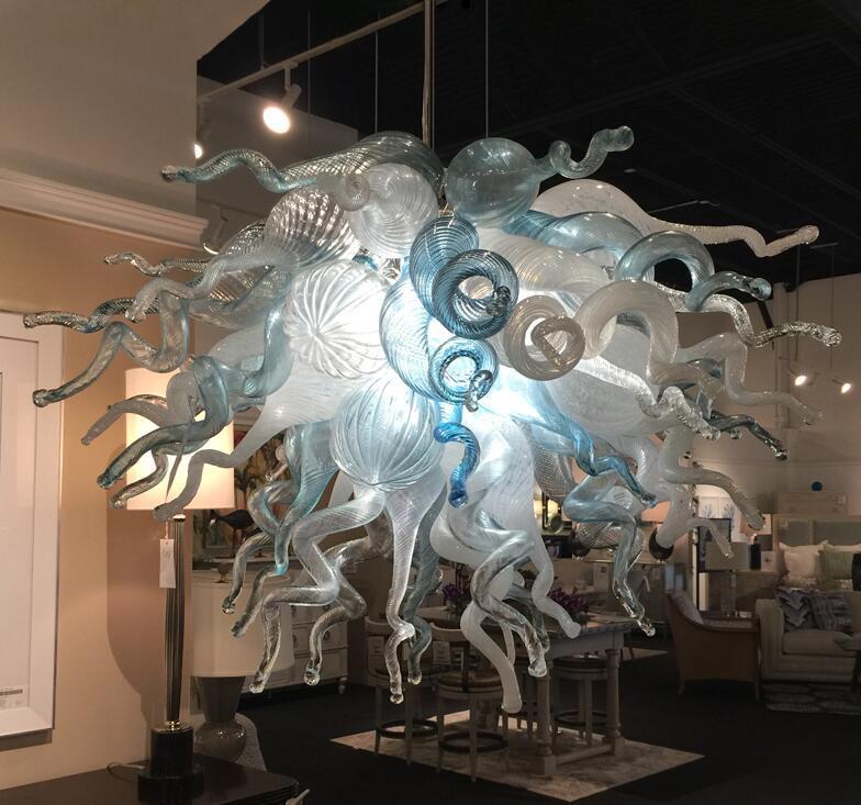 Beyaz ve Mavi Cam Avize Aydınlatma Sıcak Satış El Yapımı Cam Avize Ücretsiz Kargo LED Ampuller Toptan Murano cam kolye Lambalar