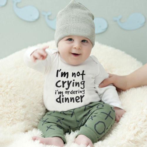 Bonito Cartas NewbornToddler Crianças Meninos Meninas Cotton calças compridas roupas Outfits Set 0-24M meninos bodysuits da criança do bebé roupas