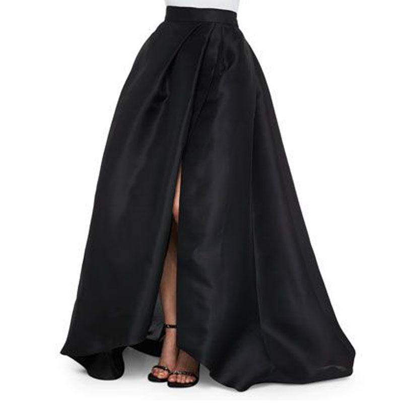 Sexy Negro satinado largo Faldas nuevo diseño lateral abierto elegante invisible cremallera de la longitud del piso de las mujeres Faldas Moda Maxi Saia Y1904002
