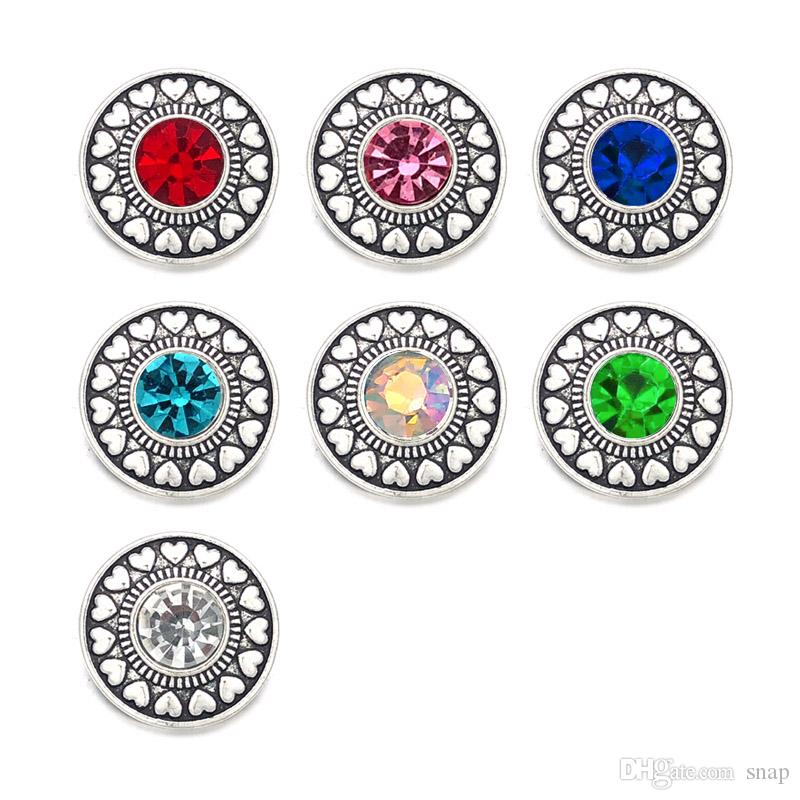 Wholesale w396 Crystal 3D 18mm 20mm Metal Snap Button For Bracelet Necklace Interchangeable Jewelry Women Accessorie Findings