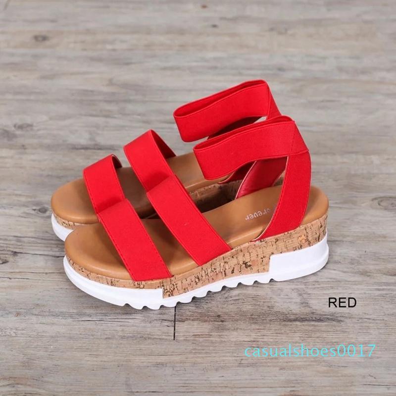 Nuevo 2020 sandalias de plataforma sólidas de moda para mujer serpentina Peep Toe cuñas de tacón medio tobillo hebilla Correa Sandalia mujer zapatos femeninos c17