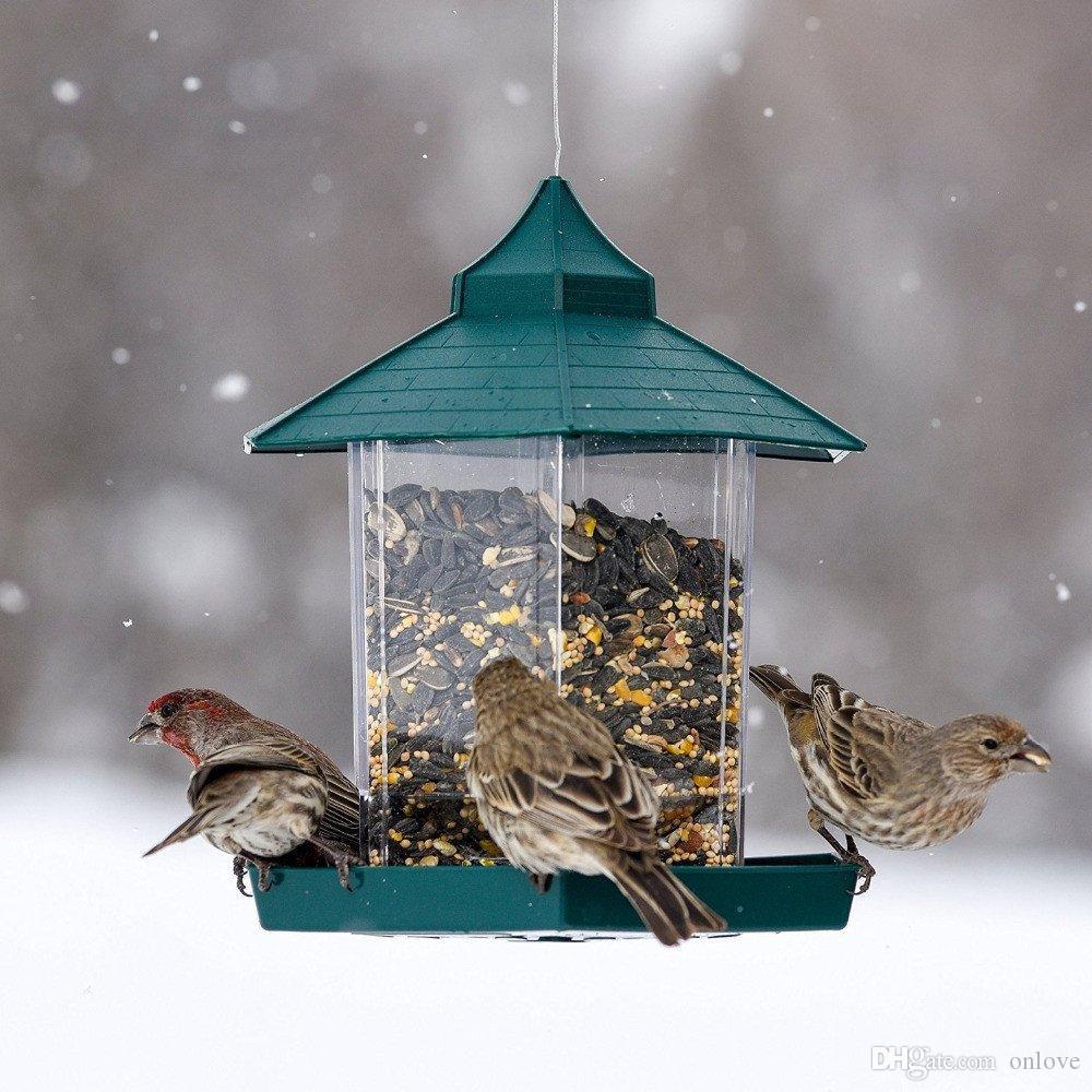 Wild Bird Feeder Plastiknahrungsmittelbehälter Im Freien hängenden Wasserdicht Faulen Menschen Füttern Haustiere Container für Gartendekoration XD21639