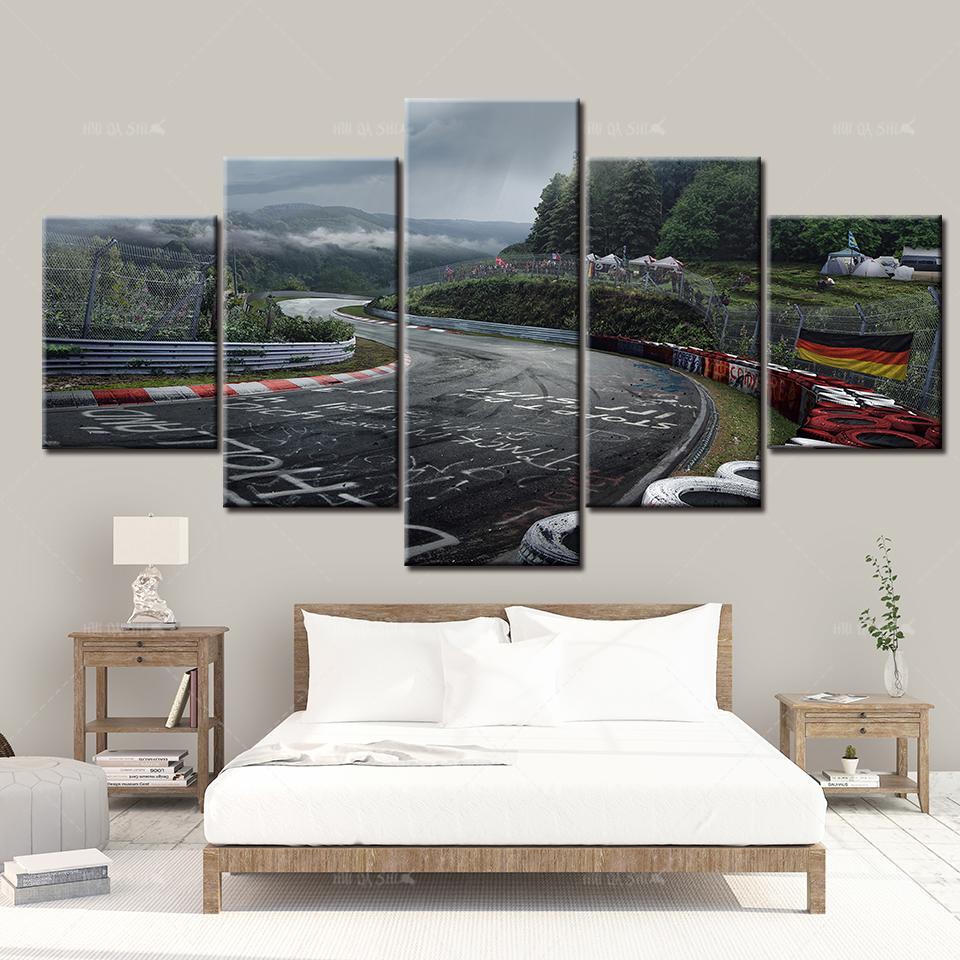 pista di stampa macchina di pista sportiva Nurburgring raduno su tela pittura 5 poster paesaggio arte della parete camera Immagini allestimenti casa viventi