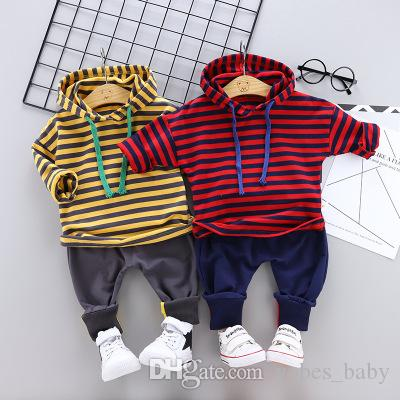 Infant hoodie jacket todder boys clothes 2019 new children clothing Korean boys and girls set kids long sleeve 2pcs bow tie shirt wholesale