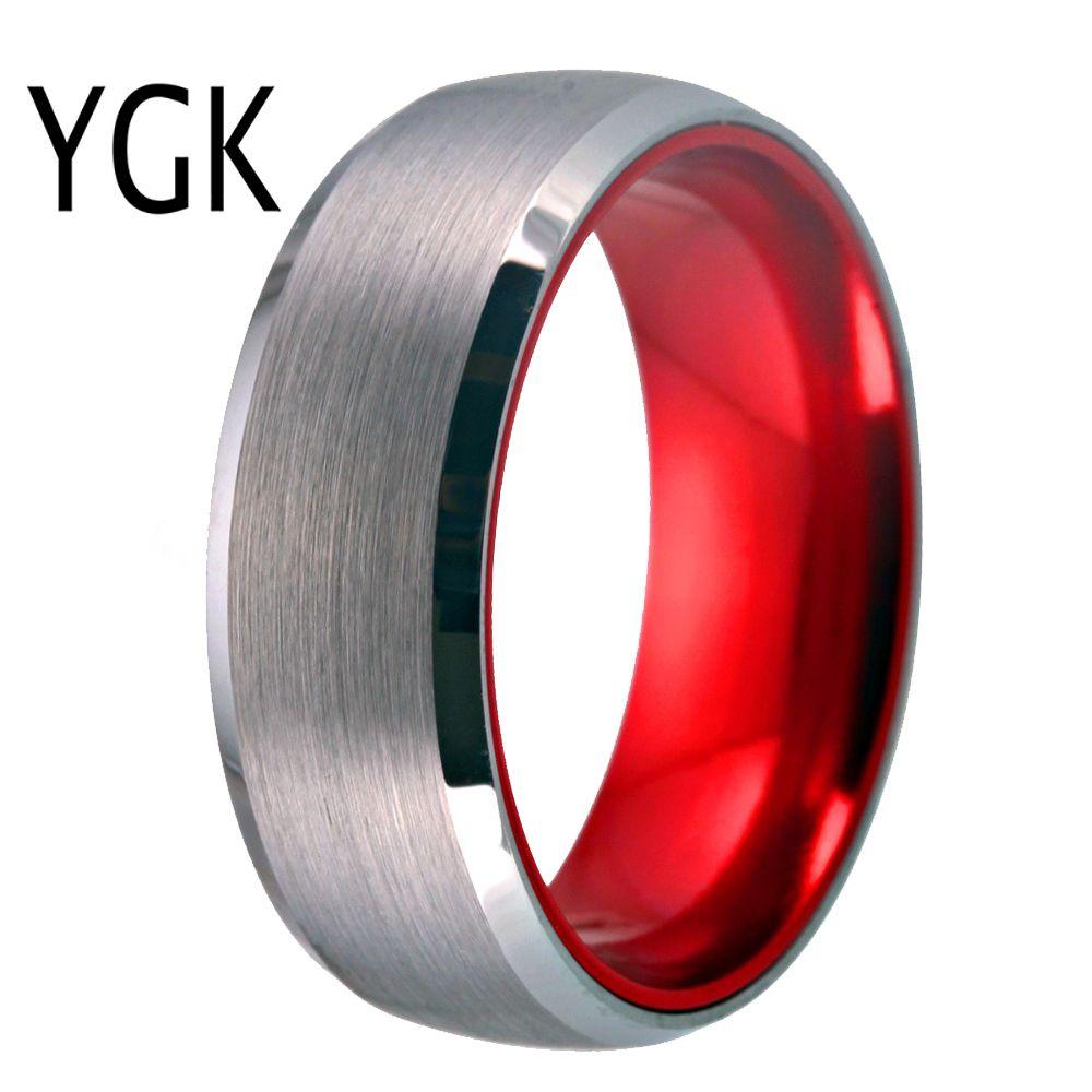 Классические мужские свадебные обручальные украшения Красное позолоченное кольцо для женщин 8 мм вольфрамовое кольцо матовое готовое кольцо годовщины свадьбы