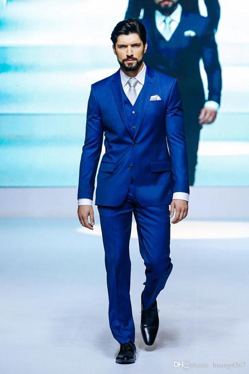 New Groommen Smoking Padrinhos Dois Botão Azul Royal Melhor Homem Terno de Casamento dos homens Blazer Ternos Custom Made (Jacket + Pants + colete + Gravata) 1374