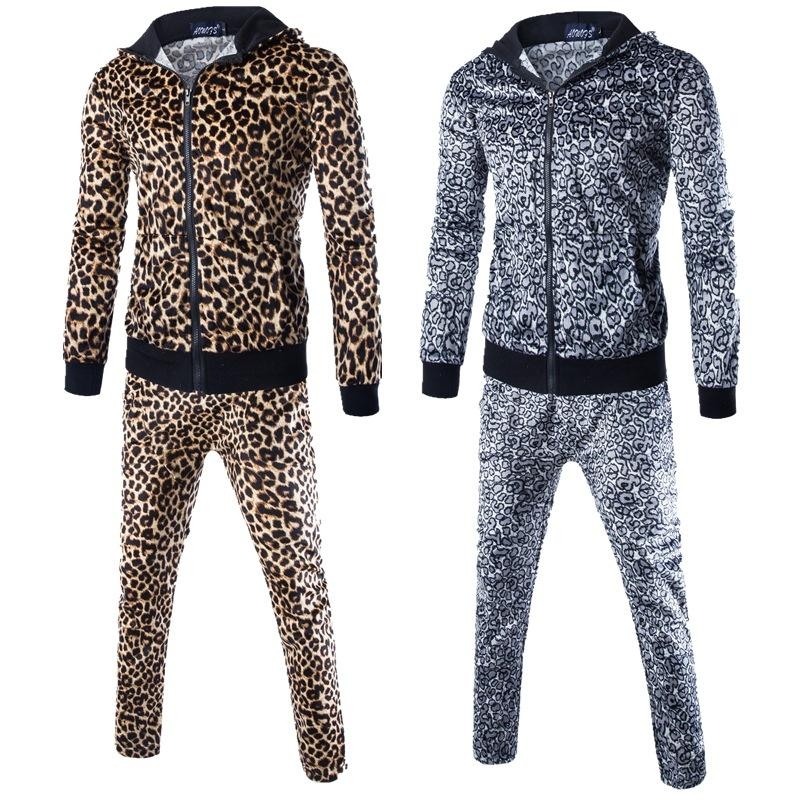 Осенняя мода мужчины комплект даже шляпа человек бренд леопардовый принт молния стиль спортивный костюм прилив красивый пальто брюки 2 шт наборы