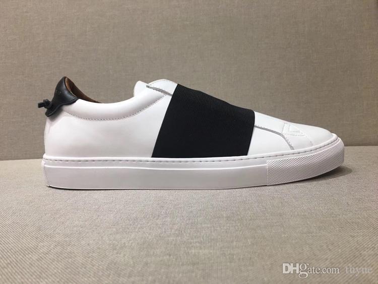 SNEAKERS Strap qualità in pelle con marchio parigi progettista mens scarpe casual sneaker elastico per le donne degli uomini di formato 34-46