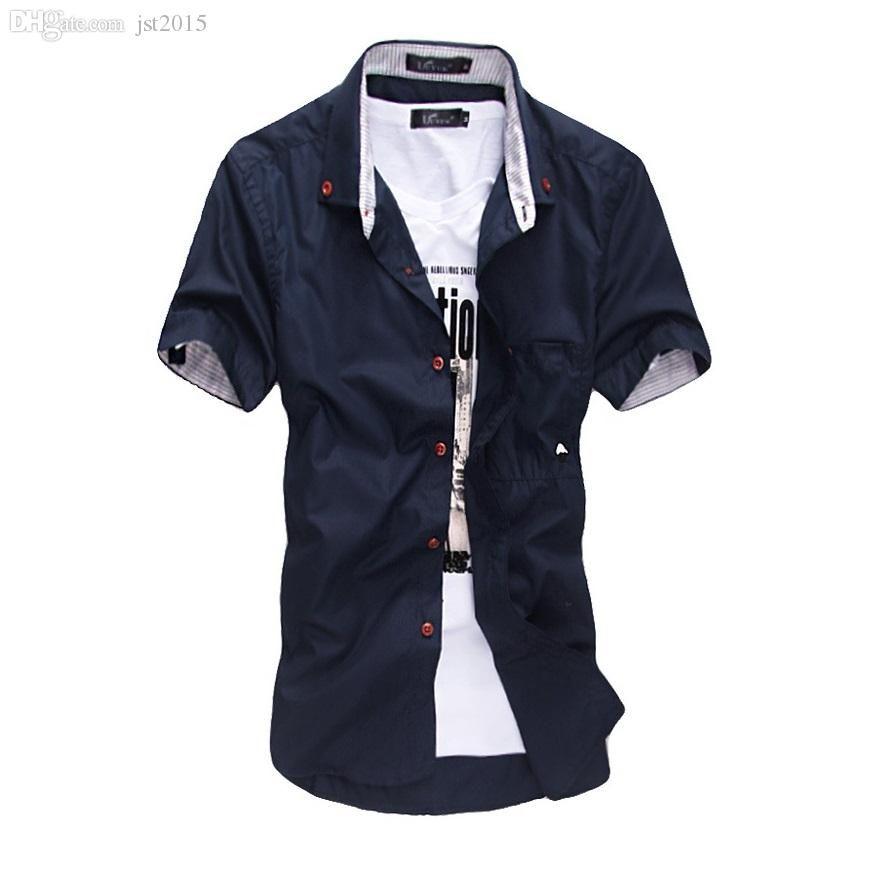 Atacado-As novas verão vestido estilo camisa do estilo listras bordados dos homens bateu cogumelo cor cultivar de manga curta O Design de Moda