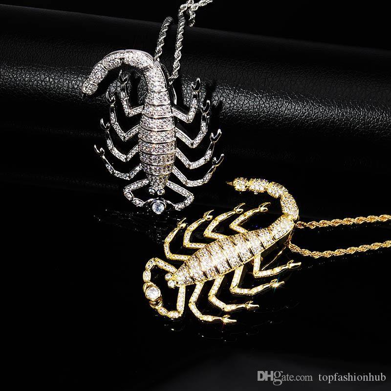 Hip-hop Scorpion Pendant Necklace Women&men's Neutral Hiphop Jewelry Zircon Gold Necklace New Hot