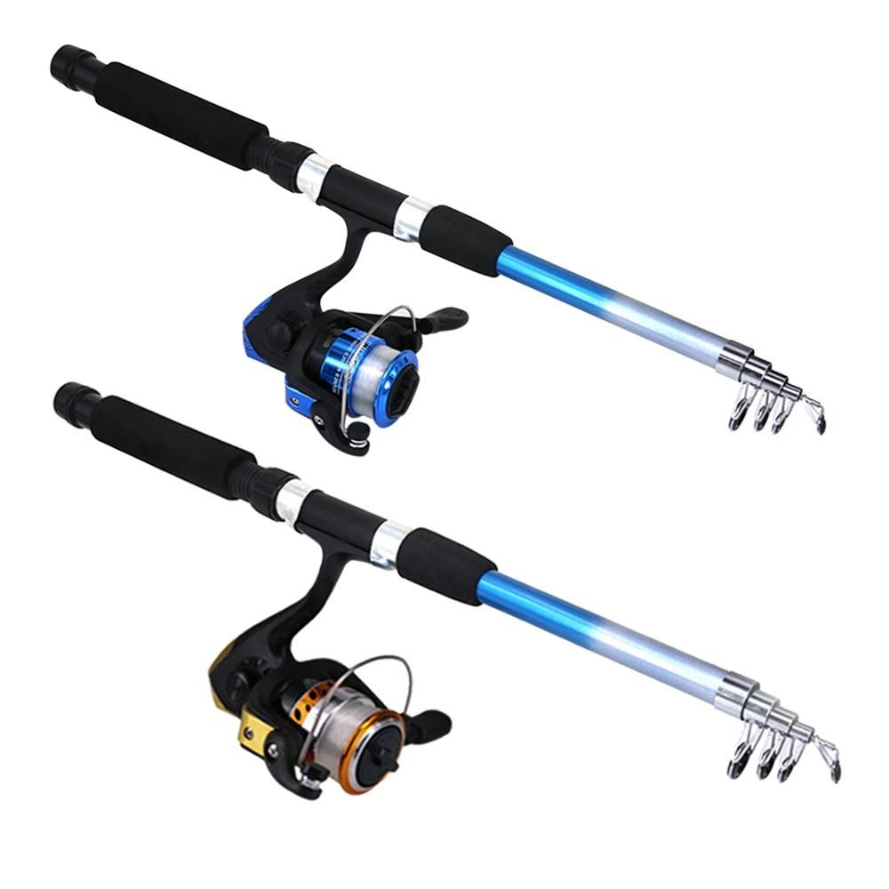 Telescopic Fishing Rod Reel Combo Full Kit Fishing Rod Gear +Spinning Reel+ Line Lures Hooks with Bag for vara de pesca