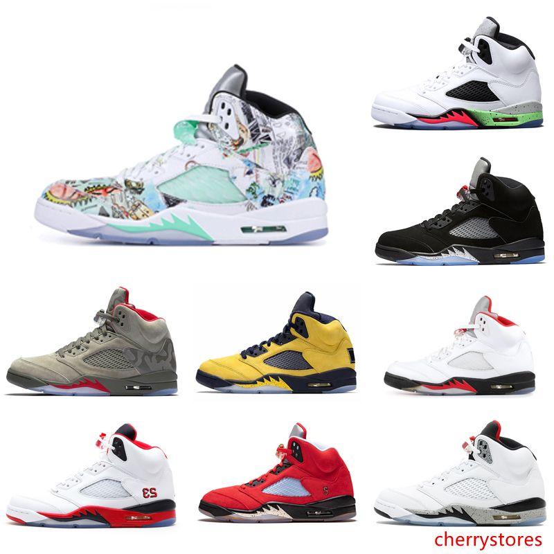 Hot 5 5s Ailes Chaussures Hommes Basketball Rouge Bleu Blanc Noir Suede raisin formateurs designer chaussures de sport sport hommes