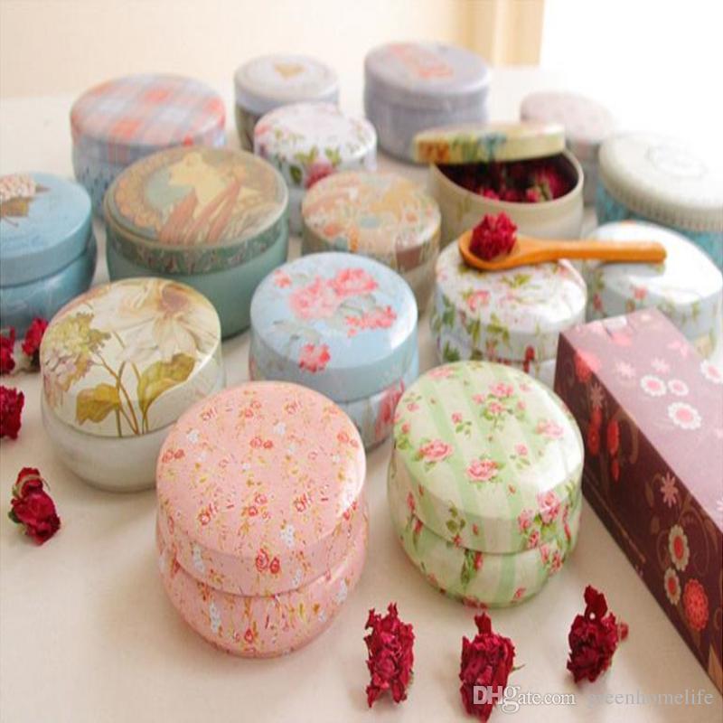 Pastillas de joyería Círculo de la preciosa Marcaron tinbox Europa tipo retro caja de lata de almacenamiento Caja de almacenamiento Mini Weeding cajas de dulces regalos creativos