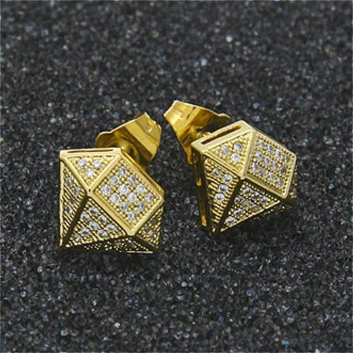 Neue Luxus Designer Schmuck Herren Ohrringe 18 Karat Gold und Weißgold Prinzessin Cut Diamant Ohrstecker Hip Hop CZ Zirkonia Mode St