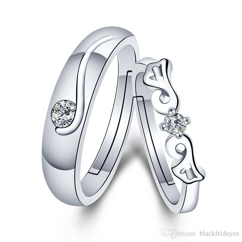 Anelli coppia LZESHINE nuovo modo d'argento Wedding Ring regolabile per donne e uomini 2pc / lot anello di fidanzamento Wedding Bands Gioielli