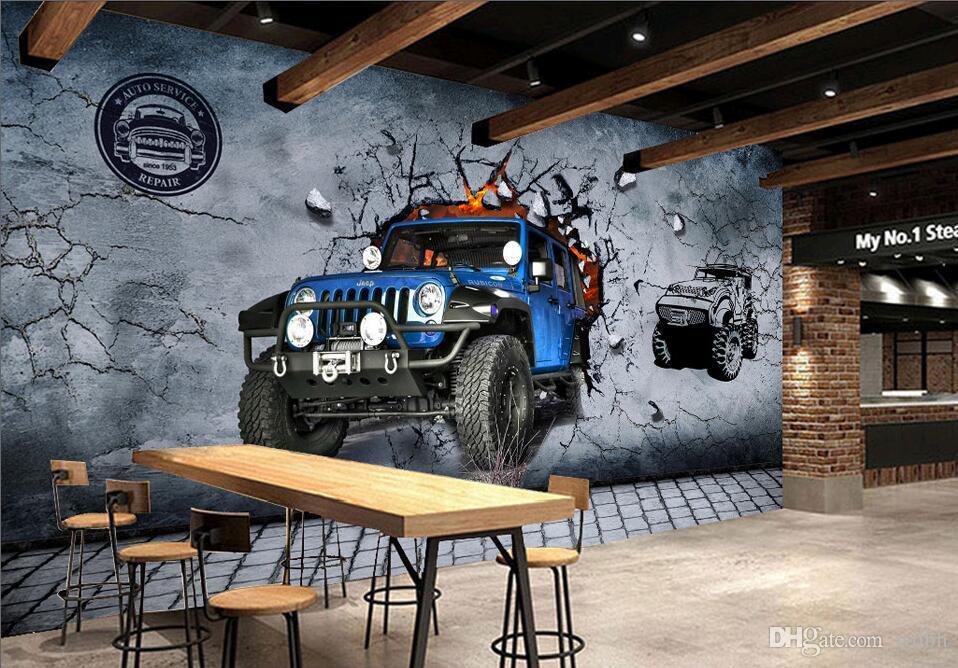 WDBH photo personnalisée 3d papier peint Vintage mur cassé véhicule hors route restaurant bar décor 3d peintures murales papier peint pour murs 3 d living ro
