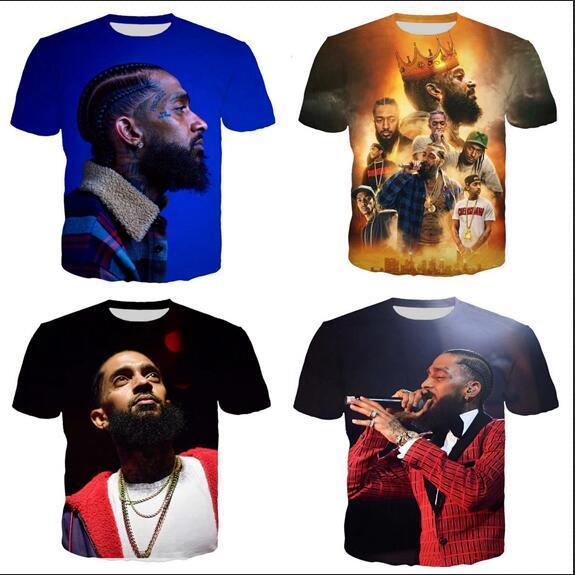 Nova Chegada Hip Estilo Verão Hop Singers Nipsey Hussle engraçado 3D Imprimir Homens Moda Mulheres Camiseta Tops frete grátis XS052