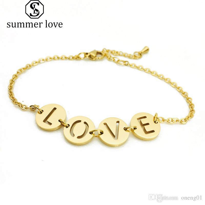 Personality Letter Love Stainless Steel Bracelet Ladies Jewelry Accessories Fashion Crystal Gold Chain Bracelet For Women Wrist Jewelry