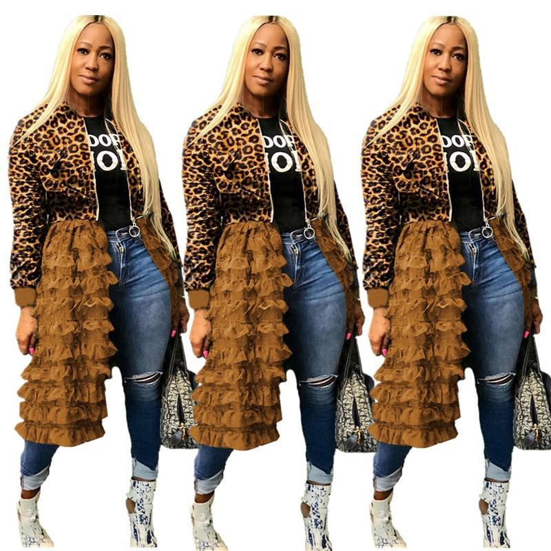 Free Ship 2020 Women Fashion Zipper Jacket Panelled Ruffle Falbala Skirt Casual Long Trench Coats XXXL Plus Size