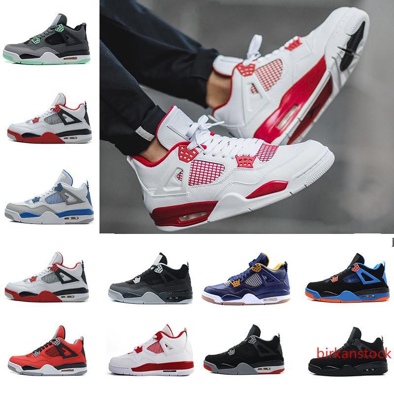 017 barato New Shoes 4 puro blanco Dinero metálico de plata para hombre de baloncesto de los hombres de deportes zapatillas de deporte alta calidad Tamaño 41-47 8-13 de EE.UU.