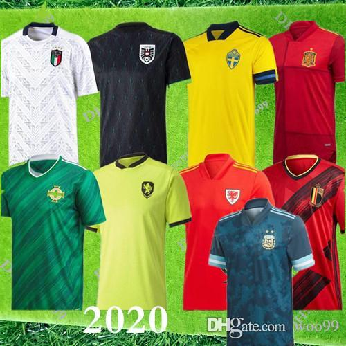 2020 Wales Scotland Soccer Jersey 2020 Italy Sweden Belgium Spain Northern Ireland Argentina national team Football Shirt Special price