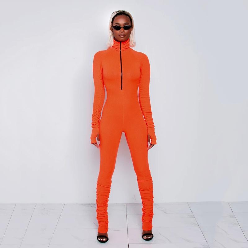 Aonibeier Rib Knit Zipper Women Bodycon Rompers Casual Fitness Skinny Sportswear High Neck Long Sleeve Jumpsuit with Thumb Hole