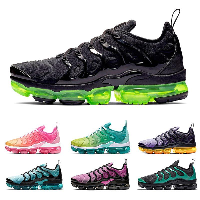 Nike Air VaporMax Yeni Koşma Ayakkabı Siyah Volt Turuncu Açık Gri Artı Erkek kadın Koşu Ayakkabıları Aktif Fuşya Midnight Donanma Eagles Erkek Volt spor sneakers