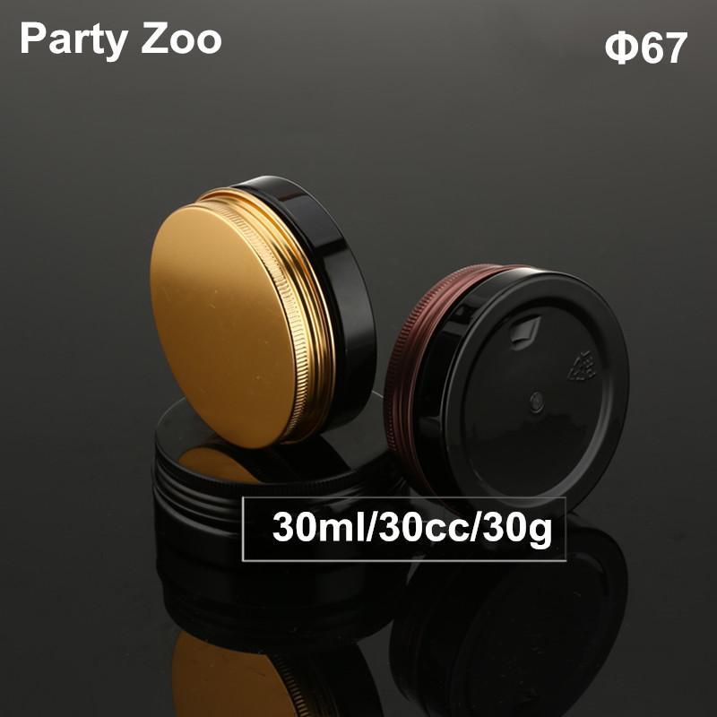 30ml Crema Negro PET tarro con tapa Negro / Bronce Oro Aluminio /, envase plástico de la botella de Ojos Crema Máscara del caso, empaquetado cosmético tarro cosmético