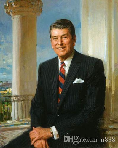 Handpainted & HD Printed Art Oil Painting America President Ronald Reagan seated On Canvas Home Decor Wall Art Multi Size p139 200311