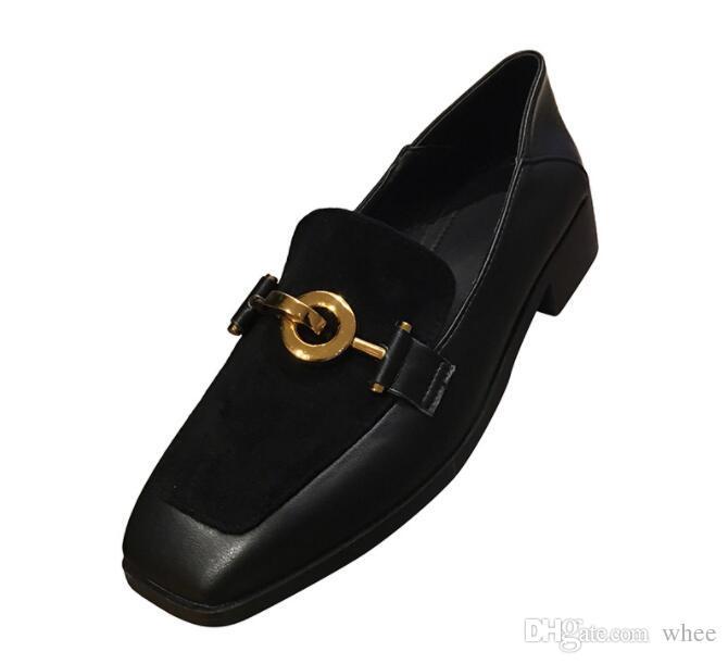 2019 New listing women dress shoes metal button women pumps Square head 296